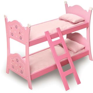Pink Bunk Bed With Bedding & Ladder Made to Fit 18 Inch American Girl