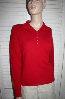Kinross Red Collared 100 Cashmere Sweater Large L