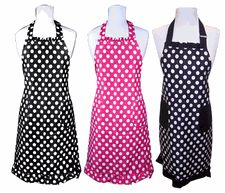 Polka Dot Print Ladies Kitchen Aprons with Free Monogram