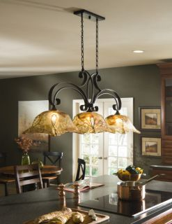 French Country 3 Light Chandelier Kitchen Island Pendant Iron Glass