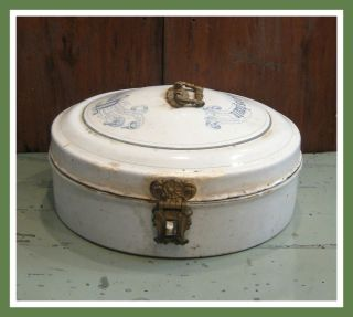 Industrial Chic White Kitchen German Enamel Bread Box Keeper