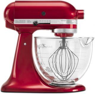 KitchenAid Mixer Artisan 5 Qt Glass Bowl Stand Mixer Candy Apple Red