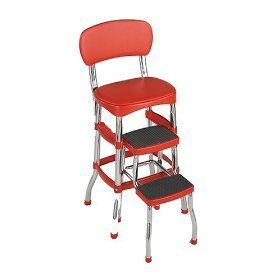 Retro Kitchen Counter Stool Bar Red Old Fashioned 50S