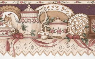 Wallpaper Border Sculptured Kitchen Dishes Flowers