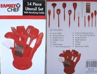 Kitchen NEW Family Chef Red 14 Piece Utensil Cook Set with Revolving
