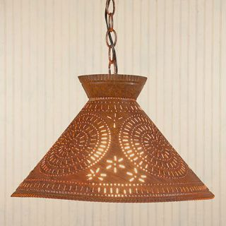Light in Rustic Tin w Chisel Country Kitchen Ceiling Lighting