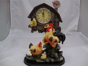 Rooster Clock Desk Kitchen Farm Animal Mantel Roosters Chicks