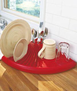 Saver Corner Dish Rack RED Dryer DRAINER Kitchen DRYING RACKS DECOR
