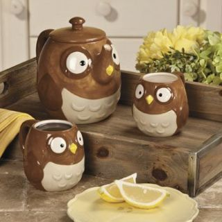 New Owl Teapot Cups Kitchen Decor