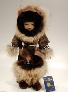 Handmade Memeluck Porcelain Alaskan Eskimo 17 Doll High Quality Real