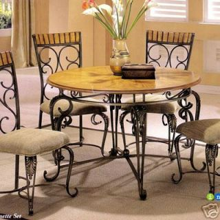 Oak Round Kitchen Set Dining Room Table Furniture Chair
