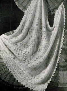 Free Knitting Pattern Baby Christening Shawl : BEAUTIFUL HAND KNITTED BABY / CHRISTENING SHAWL NEW