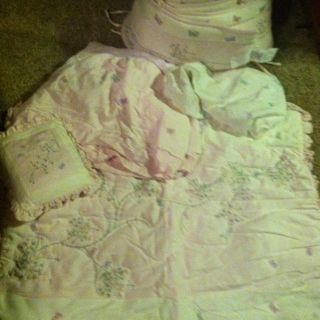 KidsLine Koko Butterfly Pink & Ivory Baby Girl Crib Nursery Bedding 9