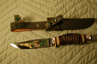 Hugo Koller Solingen Germany Etched Blade Knife