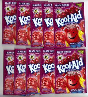 10 packets of KOOL AID drink mix BLACK CHERRY flavor, TEN packs