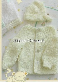 Baby Knit Crochet Patterns Christening Gown Preemie Set Booties Hat