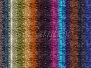 Noro Kirara #15 wool cotton silk angora yarn Blues Browns Pea Gold