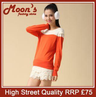 Quality Korea Style Flabella Contrast Knitwear Sweater Orange 0 1