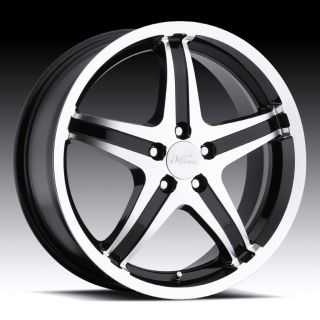 16 inch Milanni Kool Whip 5 Black Wheels Rims 5x100 40