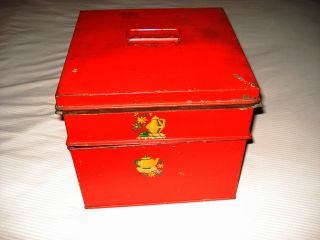 Vtg Antique Late 1800s Kreamer Two Part Tin Storage Box Red with