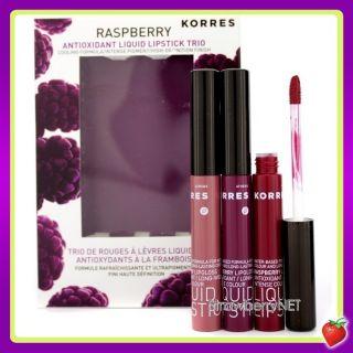 Korres Raspberry Antioxidant Liquid Lipstick Trio Soft Pink Red Berry