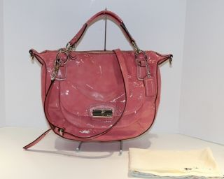 Coach Kristin Patent Leather Round Satchel 19297 Silver Rose