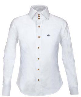 Westwood 3 Button High Collar Krall Plain Shirt Black White 006