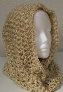 Hand Crocheted Infinity Eternity Scarf Cream Lion Homespun Yarn