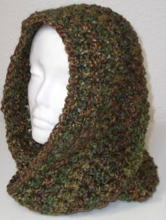 Hand Crocheted Infinity Eternity Scarf Herb Garden Lion Homespun Yarn