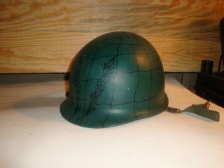 M1 Military Helmet Vietnam or Korea Swivel bale Spider Web Decorated