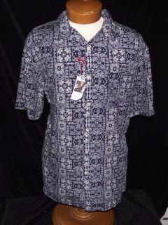 Daniel Cremieux L $75 Lyocell Navy Blue White Paisley SS Shirt Class