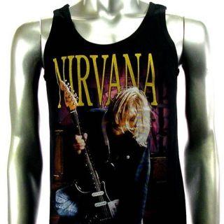 Sz M Nirvana Kurt Cobain T Shirt Tank Top Vest Biker Rock V17