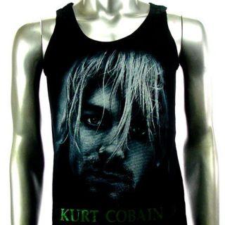 Sz M Nirvana Kurt Cobain T Shirt Tank Top Vest Biker Punk Men Rock V16