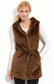 NEW Kristen Blake Faux Fur Hooded Vest  Beaver Mink Lined XS