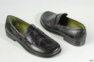 New Donald J Pliner Uncle II Black Croco Leather Loafers Shoes Italy