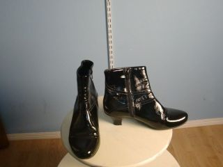 LA CANADIENNE Black patent leather Dressy Boots Microflece Lined 2