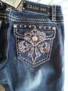 Auth La Idol Jeans Bronze Fleur de Lis Rhinestones Boot Cut Jeans
