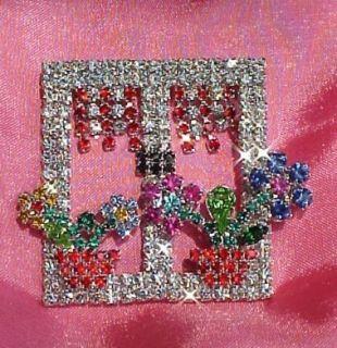 Rhinestone Crystal Flowers in Window Brooch Pin
