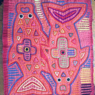 Hand Stitched Dolphin Kuna Mola San Blas Islands Panama Many Colors