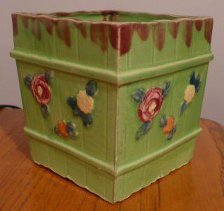 Vtg Shabby Chic Green Pottery Planter Pot Rose Garden Flowers Japan