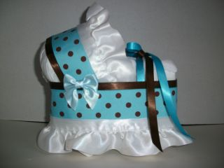 Brown Boy Diaper Bassinet Baby Shower Washcloth Centerpiece New