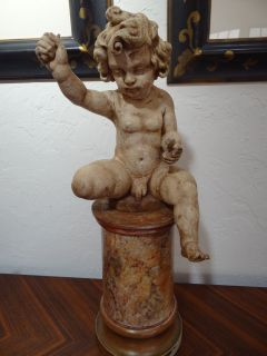 carving sculpture cupid 28 faux marble base 18thC lacks foot wings