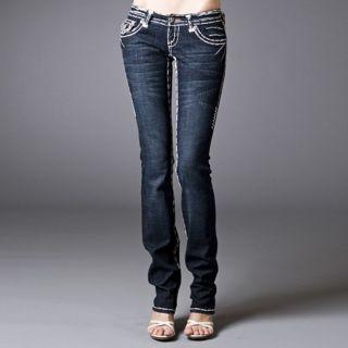 Laguna Beach Jeans Womens Long Beach Double White Stitch Straight