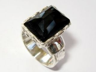 Vintage Antique Style Ladies Black Onyx Ring Silver