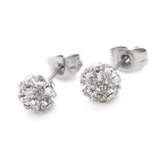 Clear Crystal Stainless Steel Stud Hoop Ladies Earrings E160