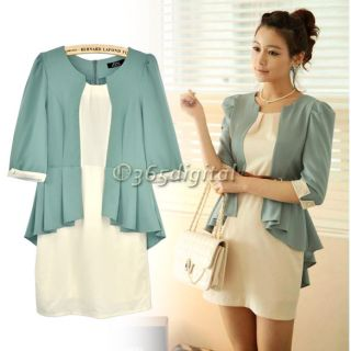 Lady Womens Elegant Flouncing Splice Linen 1 2 Sleeve Mini Dress with