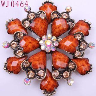 Flower Gemstone Alloy Elegant Ladies Pins Brooch WJ0464