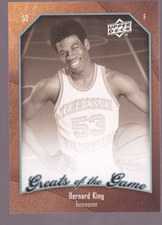 2010 Upper Deck Greats of the Game Bernard King Card