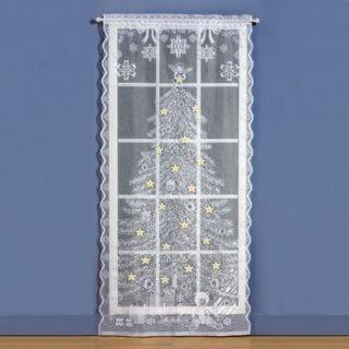 Christmas Tree Lighted Lace Curtain Panel Christmas Holiday & Seasonal