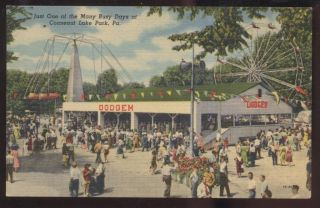 Postcard CONNEAUT LAKE PARK Pennsylvania PA Dodgem Bumper Car Ride